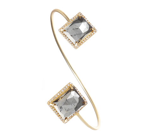 Pyrite Gemstone & Crystal Bangle