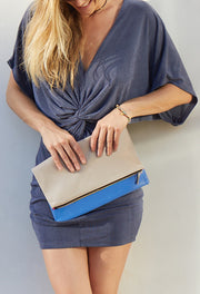 Blue & Taupe Reversible Clutch