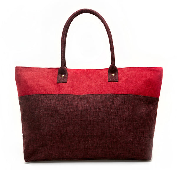 RED AND BURGUNDY DUEL LINEN TOTE BAG