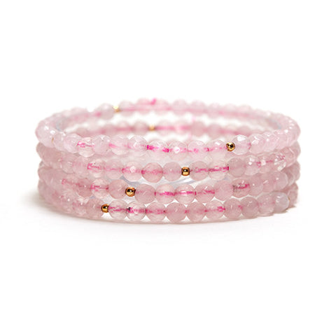 ROSE QUARTZ LAYERING GEMSTONE STRETCH BRACELET