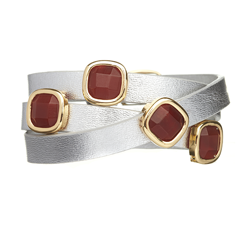Red Onyx and Silver LEATHER GEMSTONE WRAP BRACELET