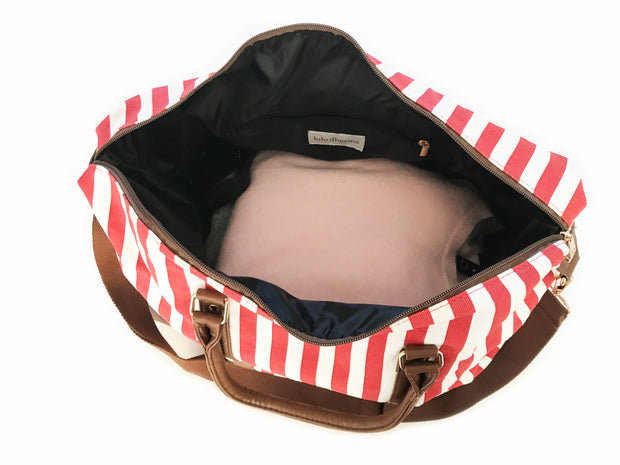Red Striped Duffel Weekender Bag