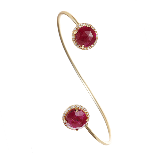 Ruby Chalcedony Gemstone & Crystal Bangle