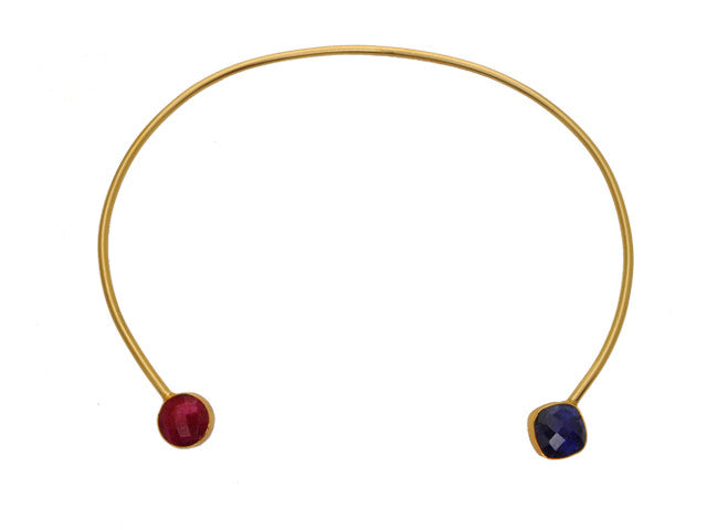 Circle Ruby & Diamond Sapphire Gemstone Collar Necklace