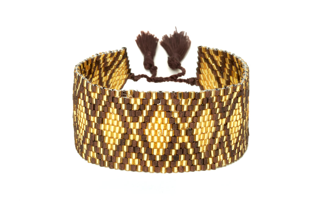 Gold and Brown Mixed Beaded Cuff Bracelet