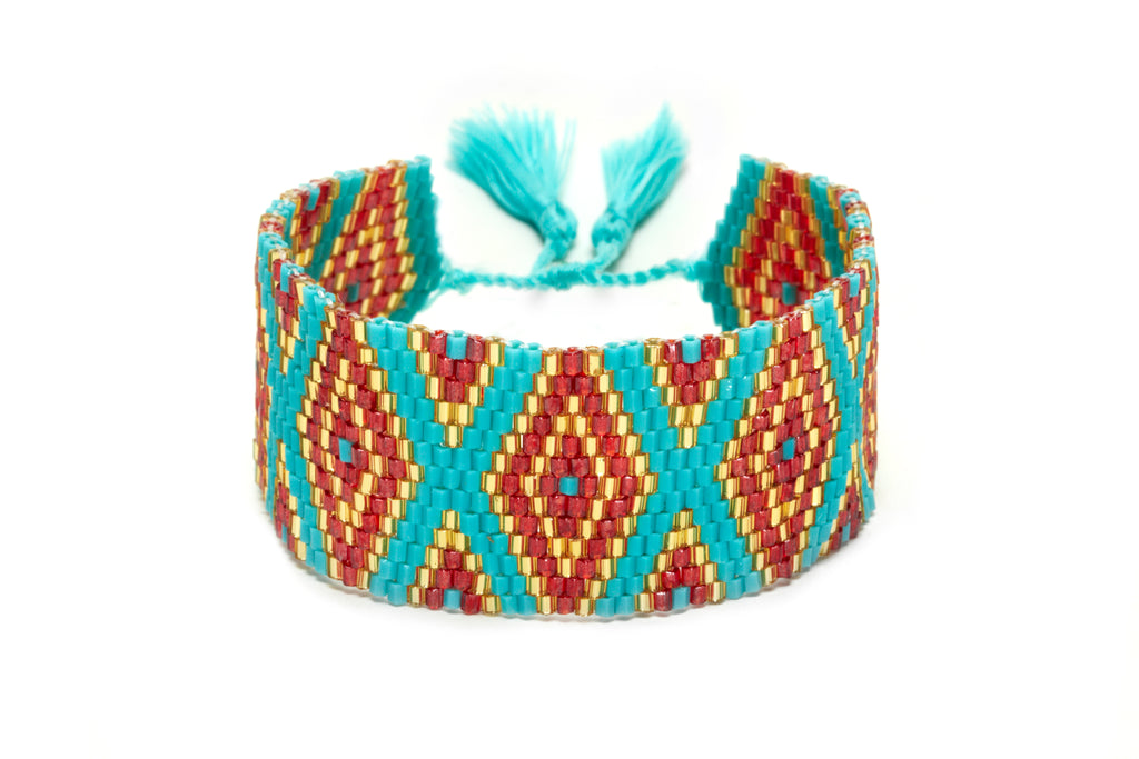 Red, Gold and Teal Mixed Beaded Cuff Bracelet