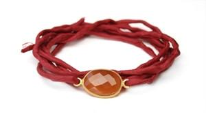Lulu Dharma Carnelian Scarlet Silk Tie Intention Bracelet