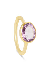 Amethyst and Gold Oval Gemstone Ring