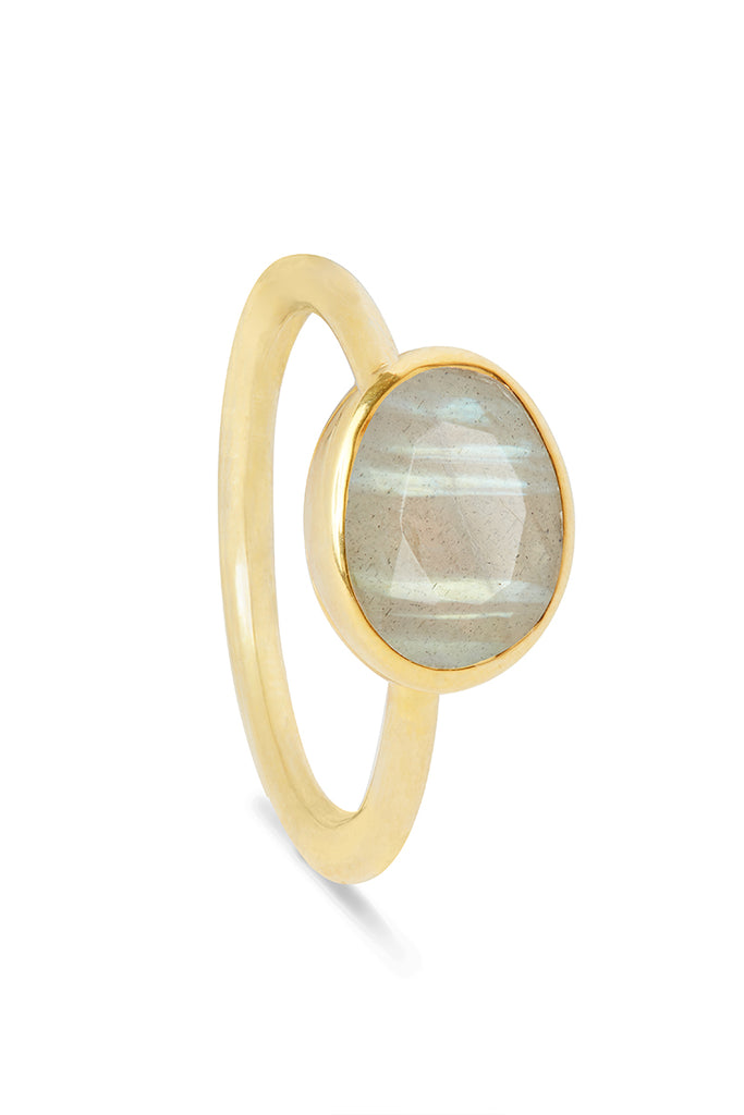 Labradorite and Gold Oval Gemstone Ring
