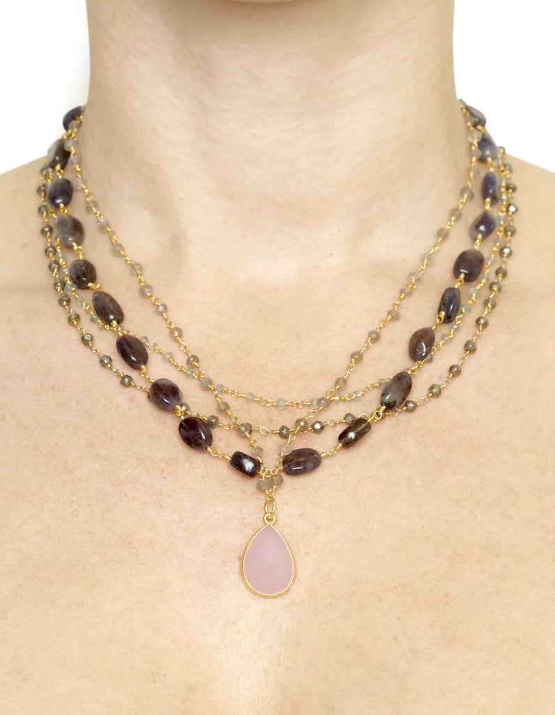 Pink Chalcedony Pendant with Iolite, Apatite and Pyrite Layered Necklace