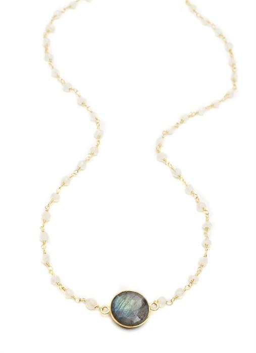 Labradorite Round Stone on Moonstone Chain (18Ì_?)