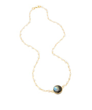 Labradorite Round Stone on Moonstone Chain