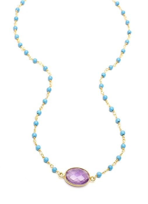Amethyst Oval Stone on Turquoise Chain (18Ì_?)
