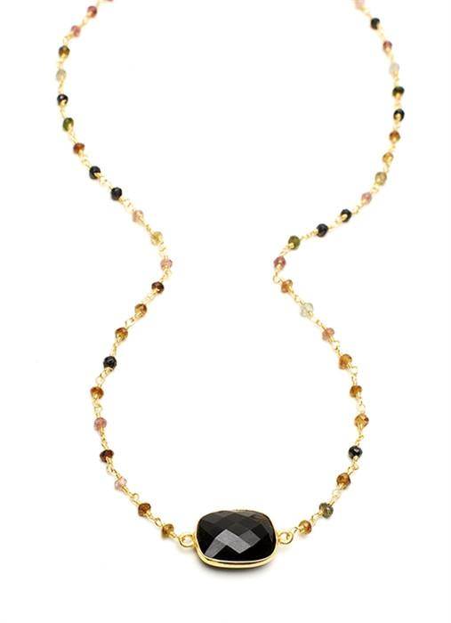 Black Onyx Rectangular Stone on Tourmaline Chain (18Ì_?)
