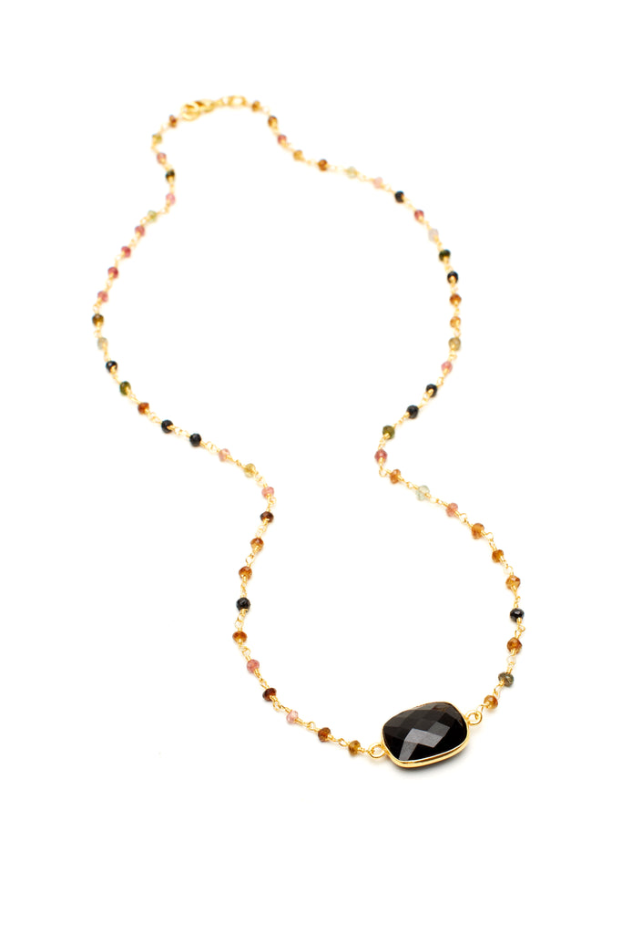 Black Onyx Rectangular Stone on Tourmaline Chain