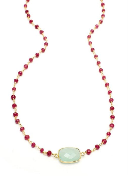 Peruvian Chalcedony Rectangular Stone on Ruby Chain (36Ì_?)