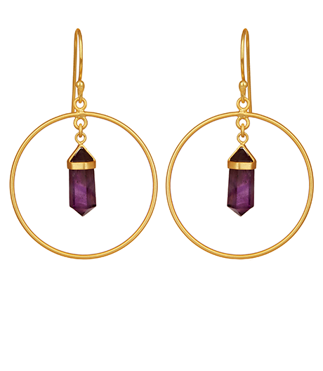 Amethyst Gemstone Pendant Hoop Earrings