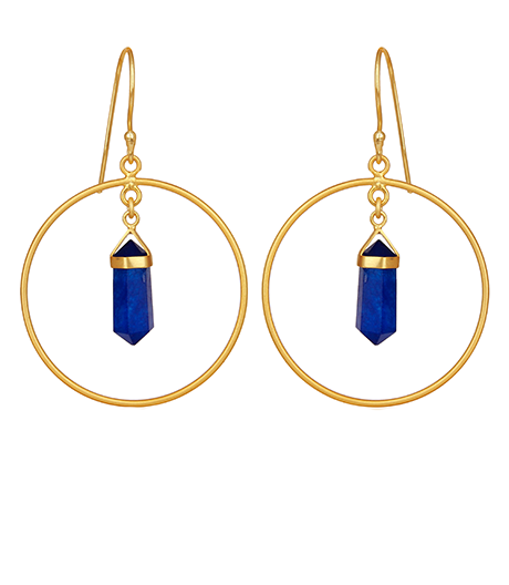 Lapis Lazuli Gemstone Pendant Hoop Earrings