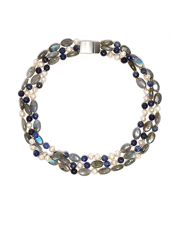 Labradorite, Lapis and White Pearl Halo Gemstone Choker