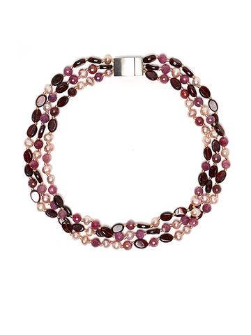 Ruby, Garnet and Lavender Halo Gemstone Choker