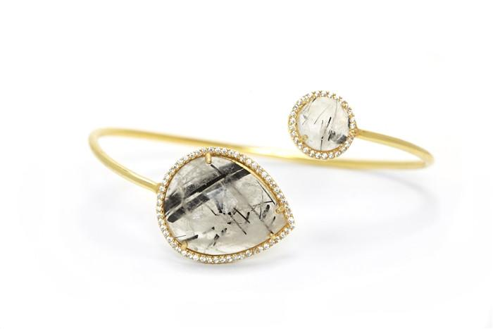 Tourmalated Quartz Lyra Bracelet