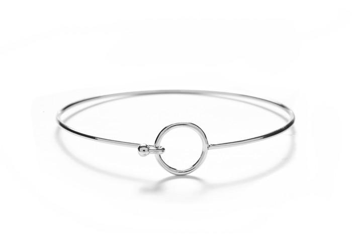 Circle with Silver Overlay Silver Geometric Bangles