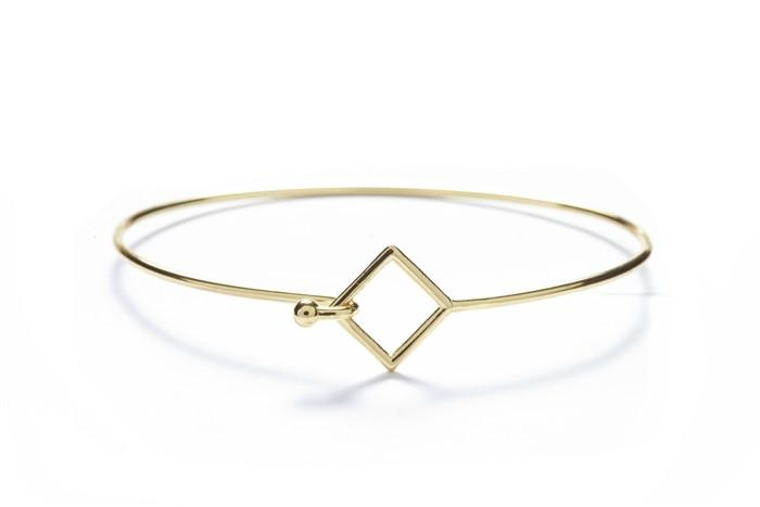 Square with 18k Gold Overlay Geometric Bangles