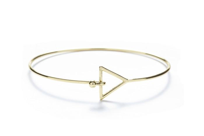 Triangle with 18k Gold Overlay Geometric Bangles