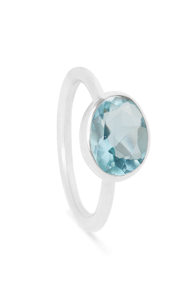 Aquamarine and Silver Oval Gemstone Ring