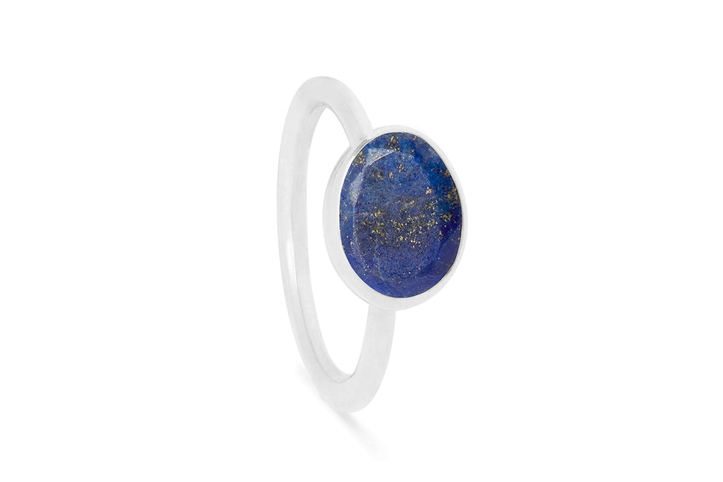 Lapis and Silver Oval Gemstone Ring