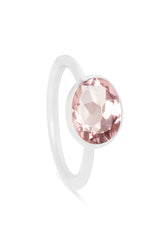 Morganite and Silver Oval Gemstone Ring