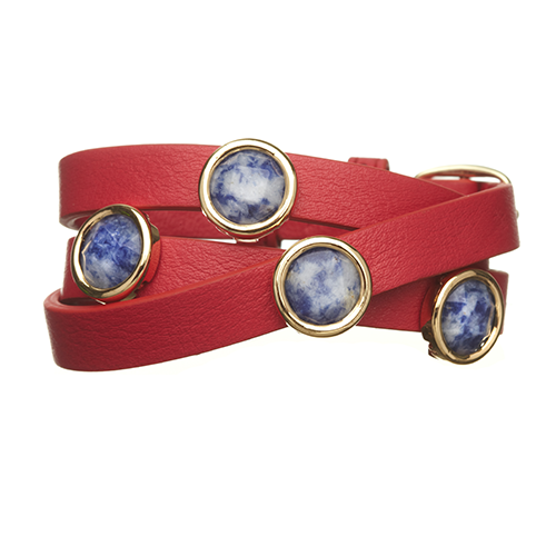 Sodalite and Red LEATHER GEMSTONE WRAP BRACELET