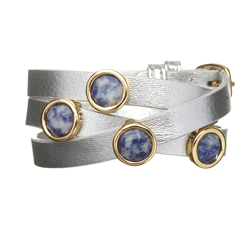Sodalite and Silver LEATHER GEMSTONE WRAP BRACELET