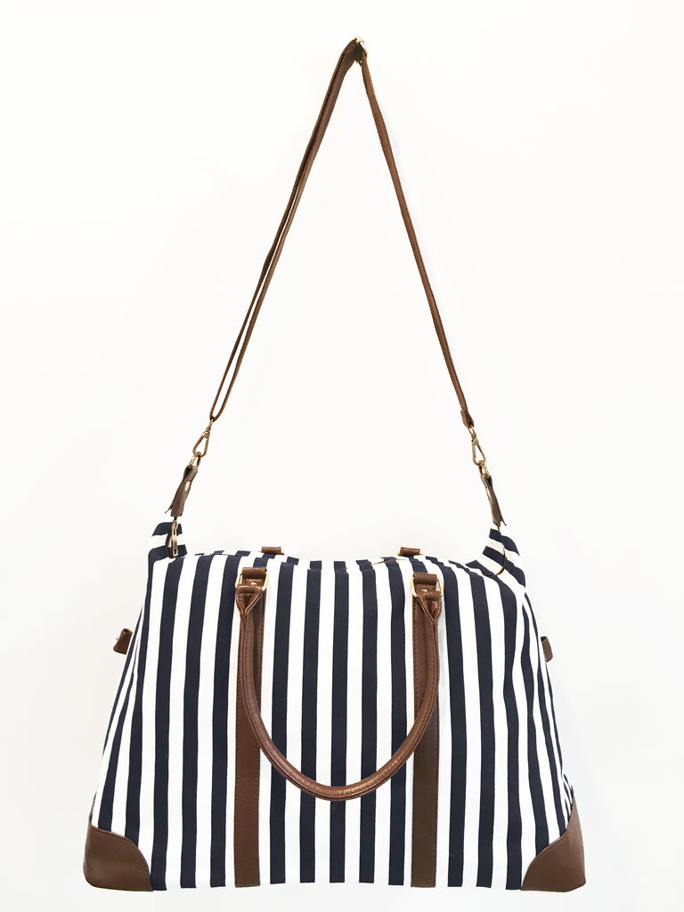 Black Striped Duffle Weekender Bag