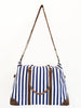 Blue Striped Duffle Weekender Bag