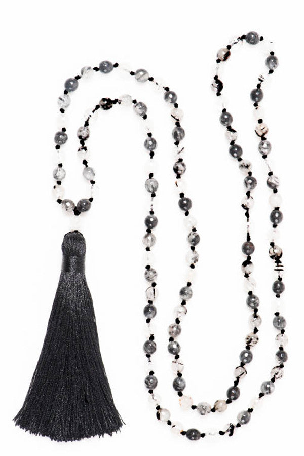 Tourmalated Quartz Tassel Mala