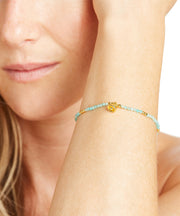 Amazonite and Gold Faceted Gemstone Bracelet Bell Charm
