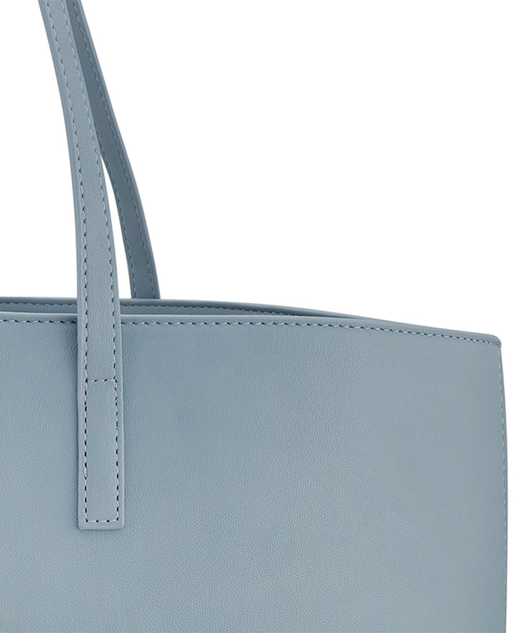 Blue Vegan Leather Tote