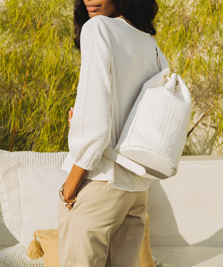 White Woven Bucket Bag