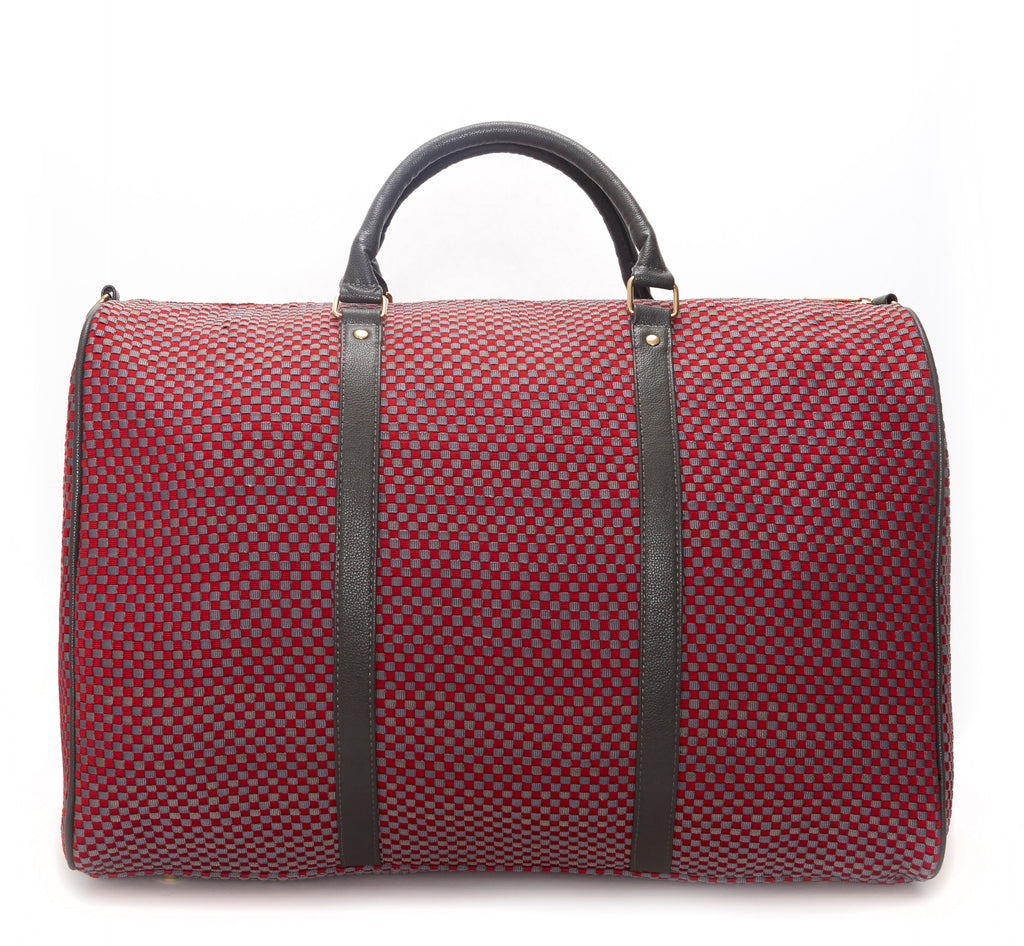 Red & Gray Woven Weekender Bag
