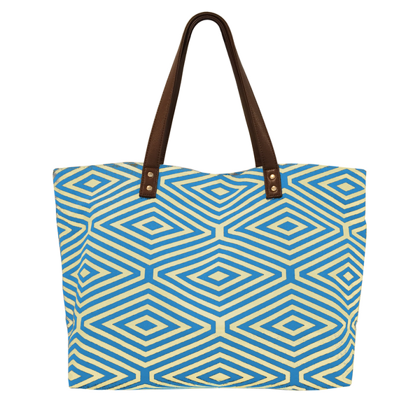 YELLOW AND BLUE DIAMOND PRINT TOTE BAG