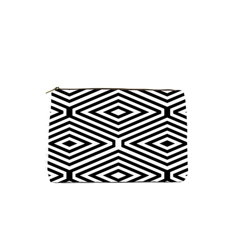 BLACK AND WHITE DIAMOND PRINT COSMETIC BAG
