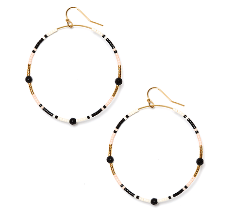 Black Onyx Andalusia Hoop Earrings