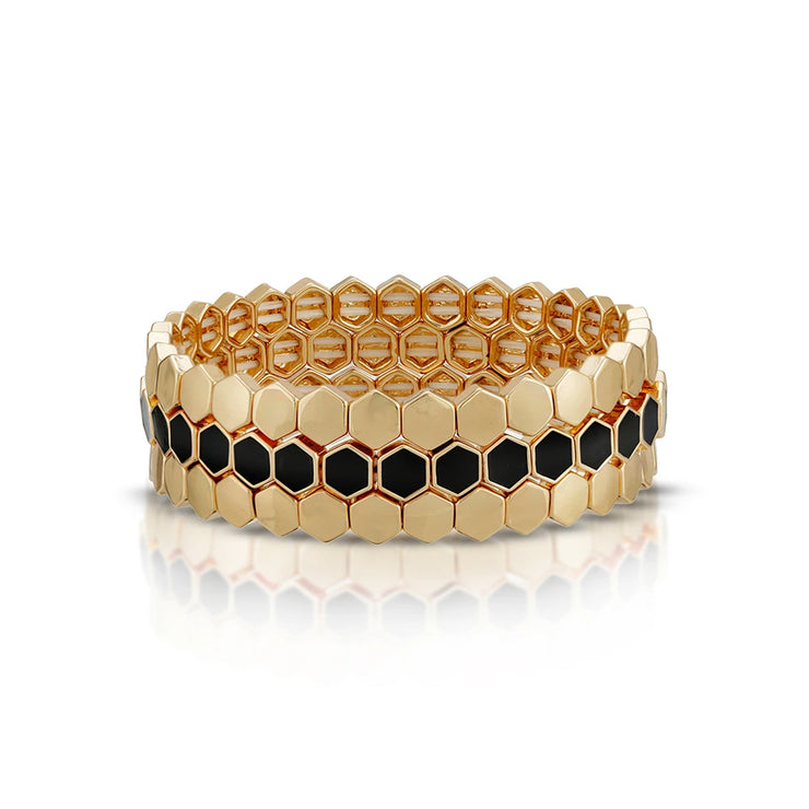 Black Honeycomb Stretch Bracelet Trio