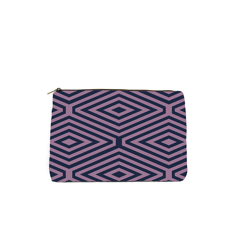 PINK AND BLUE DIAMOND PRINT COSMETIC BAG