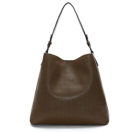 Brown Clara Laser Cut Shoulder Bag