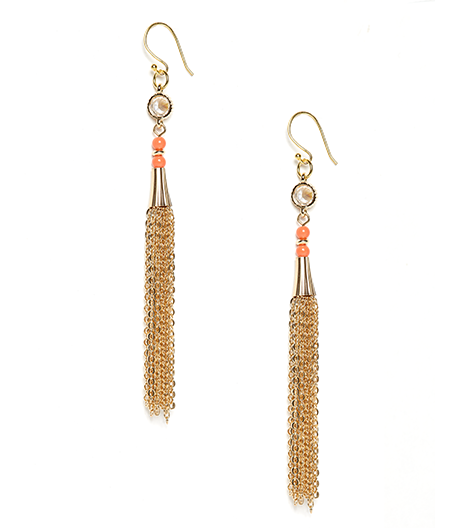 Coral Eva Crystal and Chain Tassel Earrings