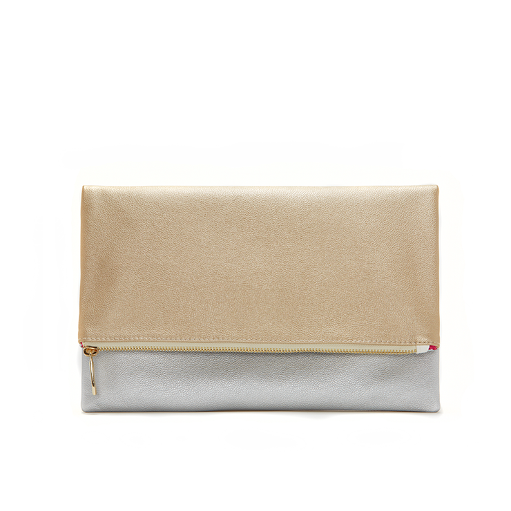 Gold & Silver Reversible Clutch