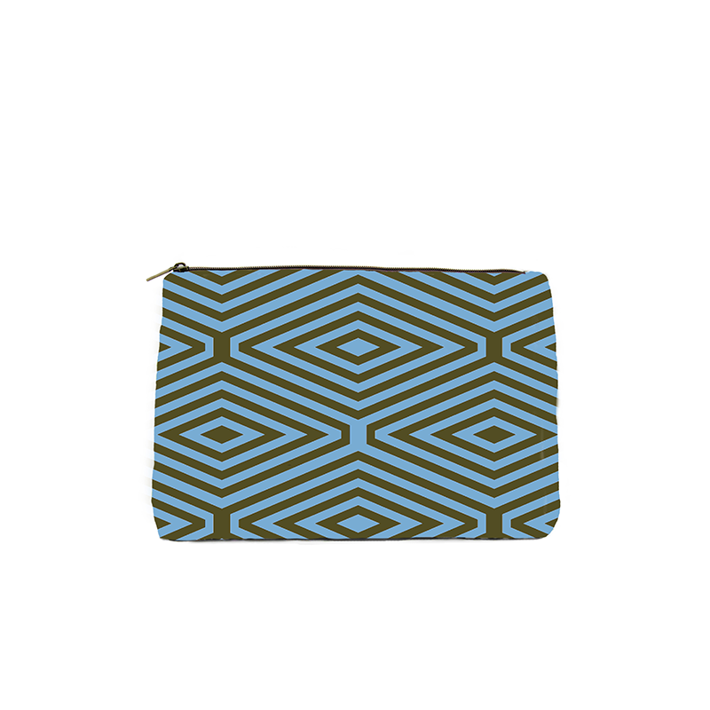 Kale & Blue Diamond Print Cosmetic Bag