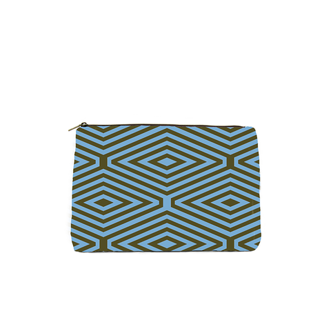 KALE AND BLUE DIAMOND PRINT COSMETIC BAG